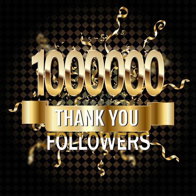 1 million followers thank you gold paper cut number illustration. Special user goal celebration for 1000000 social media friends, royalty free illustration