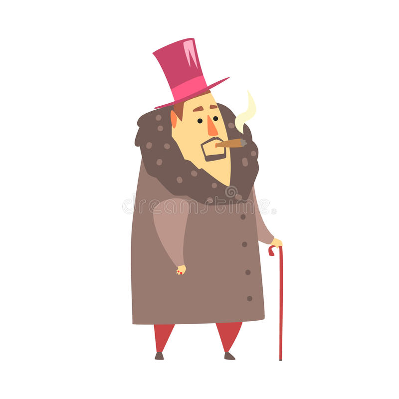Millionaire Rich Man In Coat And Top Hat Smoking Cigar ,Funny Cartoon Character Lifestyle Situation royalty free illustration