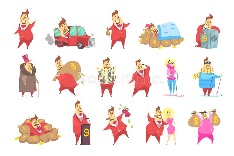 Millionaire Rich Man Funny Cartoon Character And His Money Collection Of Lifestyle Situations. Multimillionaire Businessman With Cigar In Red Jacket Activities stock illustration