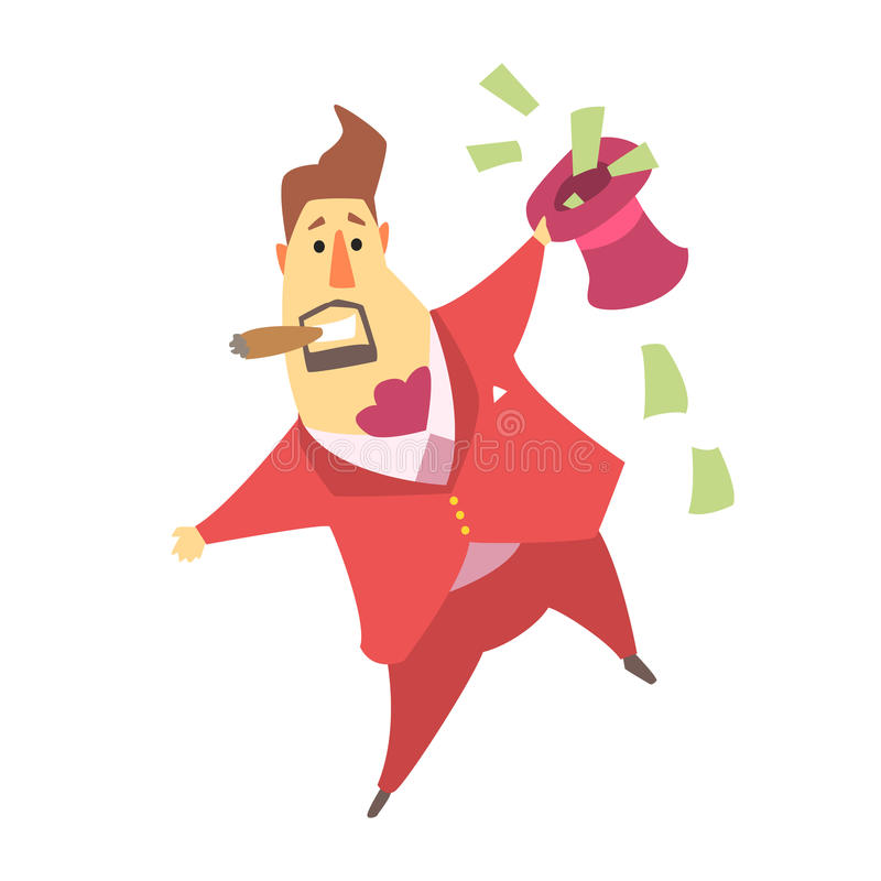 Millionnaire Rich Man Holding un chapeau supérieur qui est rempli de factures d'argent, situation drôle de mode de vie de personn illustration stock