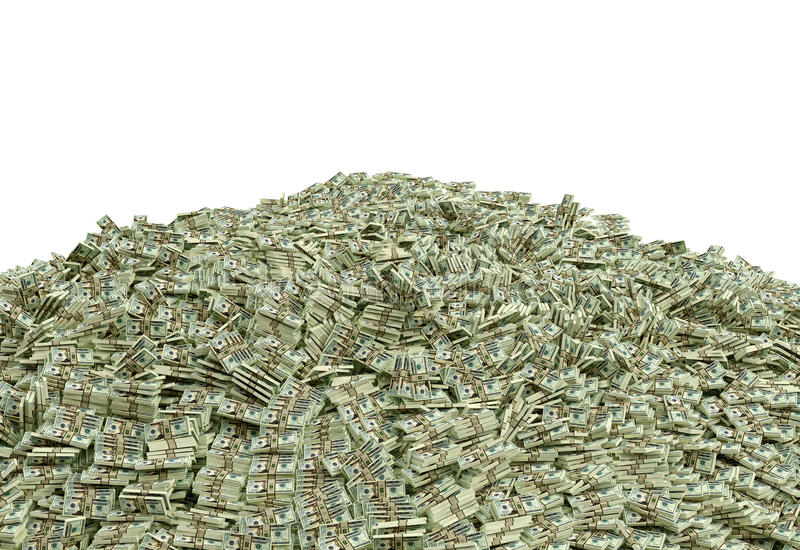 Millions of Dollars. In 20 dollar bills - isolated on white Rendered with Blender 3D