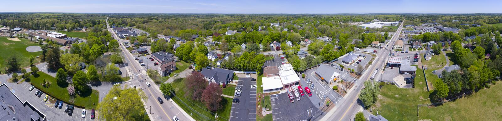 Millis aerial view panorama, Massachusetts, USA. Aerial view of Millis town center over Main Street panorama in spring, Millis, Massachusetts, USA stock images