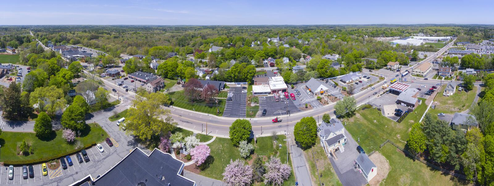 Millis aerial view panorama, Massachusetts, USA. Aerial view of Millis town center over Main Street panorama in spring, Millis, Massachusetts, USA stock photography