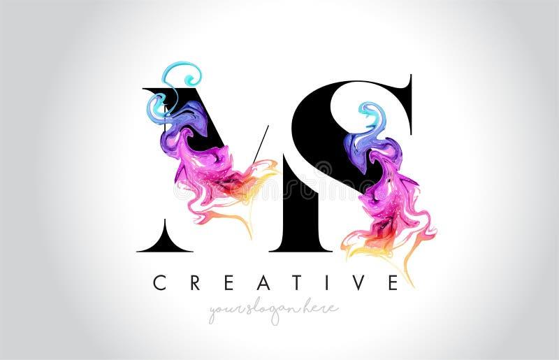 Milliseconde Vibrant Creative Leter Logo Design avec l'encre colorée la Floride de fumée illustration stock