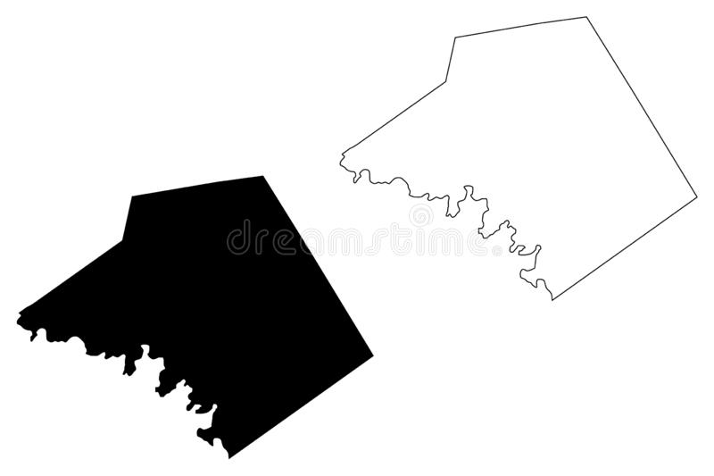 Mills County, Texas Counties in Texas, United States of America,USA, U.S., US map vector illustration, scribble sketch Mills map.  royalty free illustration
