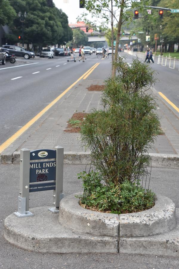 Mills End Park in Portland, Oregon. It is the smallest park in the world, according to the Guinness Book of Records, which first granted it this recognition in royalty free stock photography