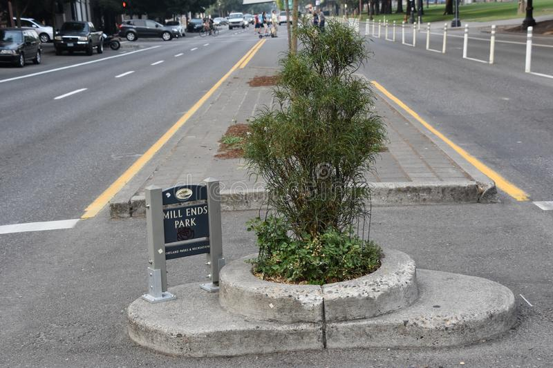 Mills End Park in Portland, Oregon. It is the smallest park in the world, according to the Guinness Book of Records, which first granted it this recognition in stock photo
