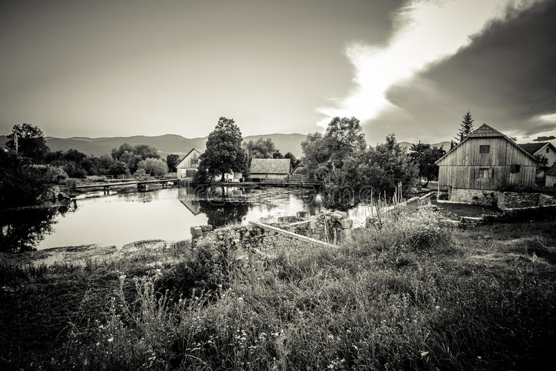 Mills on the headwaters river Gacka. Croatia stock photography