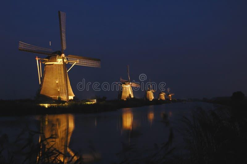 Mills of Kinderdijk in floodlight