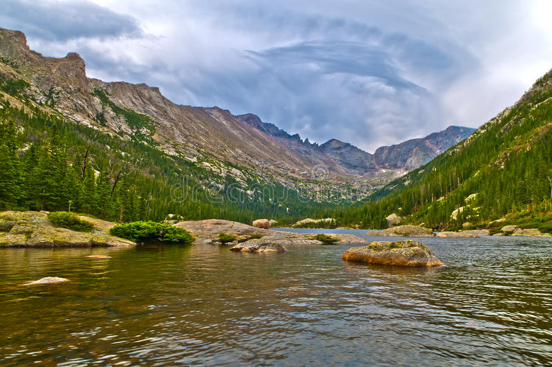 Mills Lake Colorado. Early Morning with dramatic stormy sky at the Mills Lake - Rocky Mountains National royalty free stock photo
