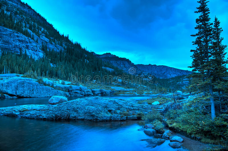 Mills Lake Colorado. Early Morning with dramatic stormy sky at the Mills Lake - Rocky Mountains National stock images
