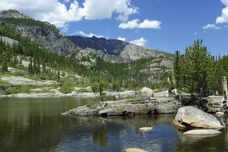 Mills Lake in Colorado Rocky Mountains. View of Mills Lake in Glacier Gorge, Rocky Mountain National Park stock images