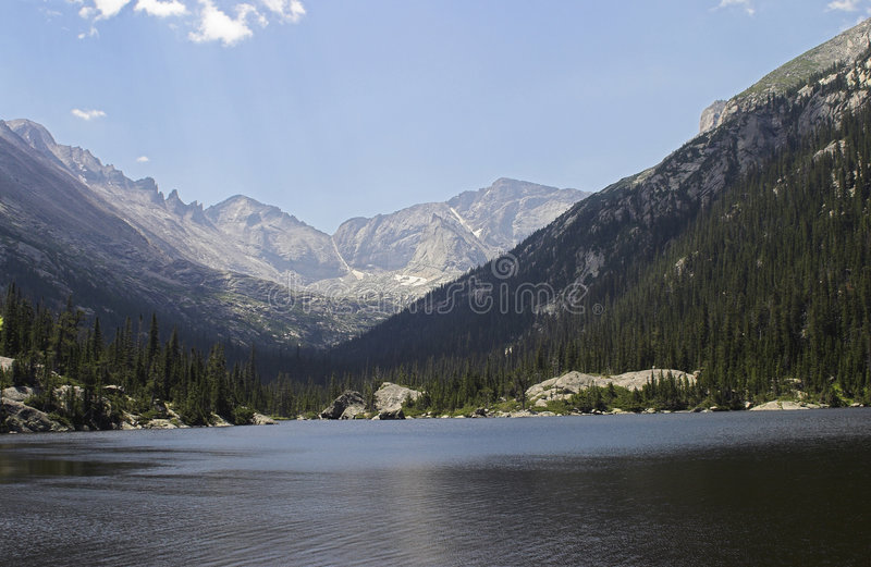 Mills Lake in Rocky Mountain National Park. Beautiful, placid Mills Lake in Rocky Mountain National Park stock images