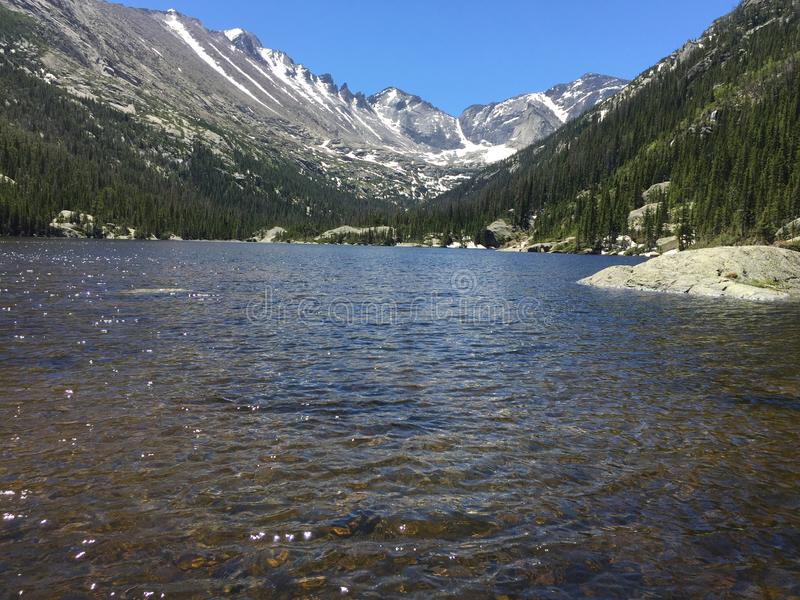 Mills Lake in Rocky Mountains. Scenic view of Mills Lake in Rocky Mountains National Park, Colorado, USA royalty free stock photography