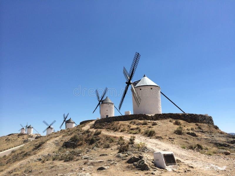 Mills winds of Consuegra Village. At La Mancha stock photography