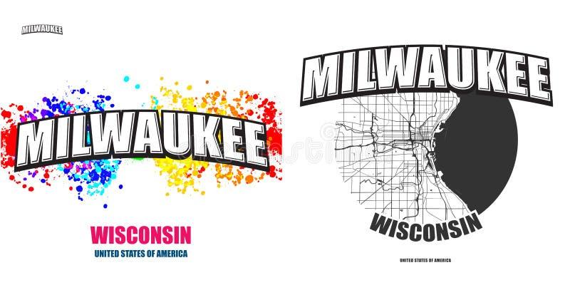 Millwaukee, Wisconsin, twee embleemkunstwerken stock illustratie