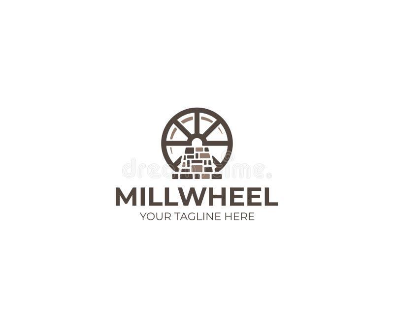 Millwheel Logo Template Watermill Vectorontwerp royalty-vrije illustratie