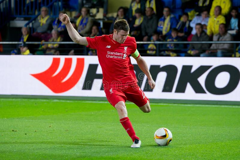Milner joue à la correspondance de demi-finale de ligue d'Europa entre le Villarreal CF et le Liverpool FC image libre de droits