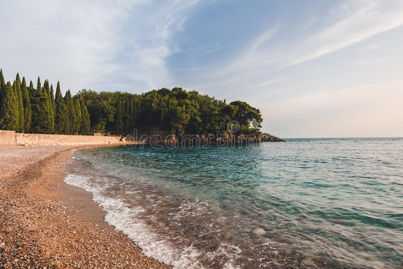 Milocer Beach and Park in Montenegro royalty free stock photo