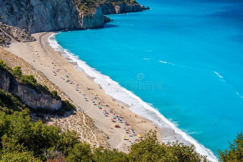 Milos Beach-de mening van het vogel` s oog in Griekenland stock foto