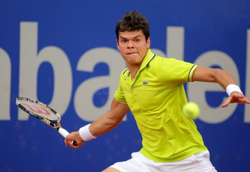 Milos canadiens Raonic de joueur de tennis photo libre de droits