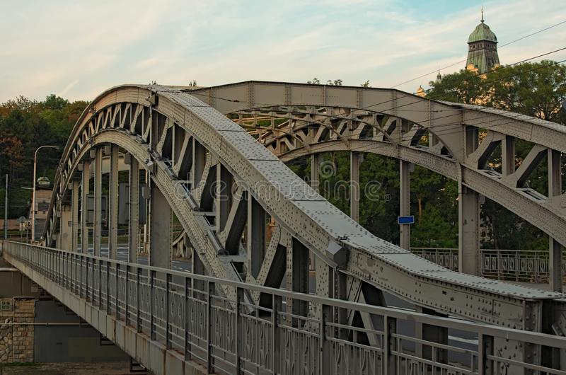 Milos Sykora bridge in Ostrava. Steel arch bridge over the Ostravice river. Technical monument and sightseeing. stock image