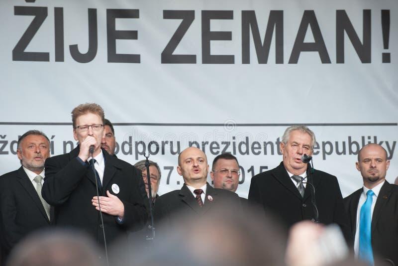 Milos Zeman, Martin Konvicka, Marek Cernoch fotografia stock
