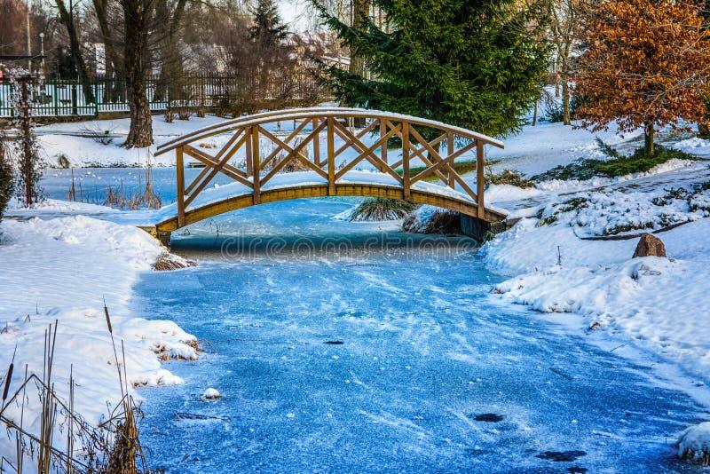 Milou peu de pont au-dessus de l'étang 2 photographie stock libre de droits