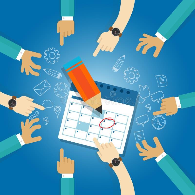 Milstolpen för datumet för affären för dagordningen för möten för laget för samarbete för målet för handlingsplankalenderstopptid stock illustrationer