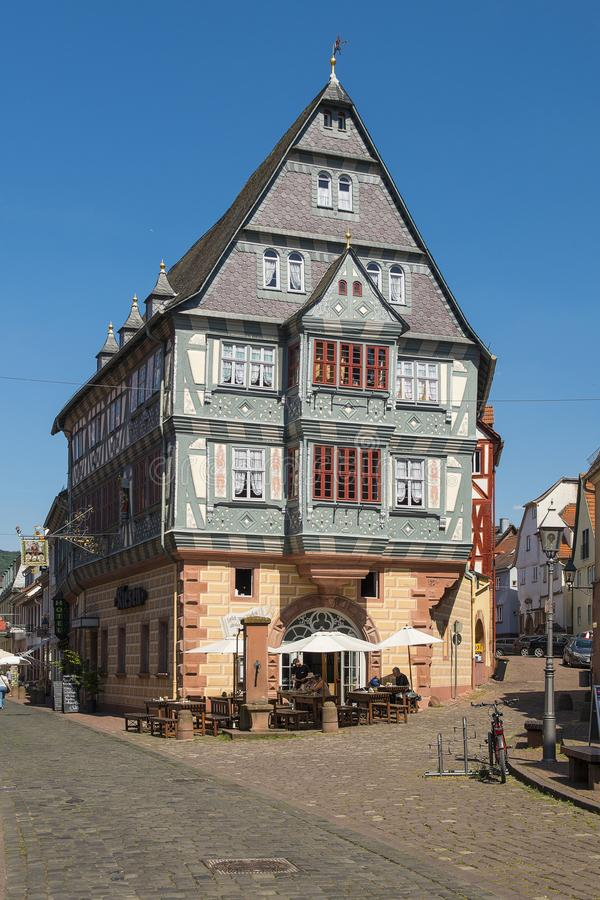 Old half timbered house in Miltenberg a populair touristic city in Bavaria royalty free stock image