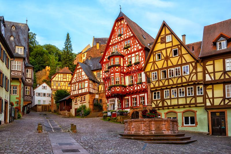Miltenberg medieval Old Town, Bavaria, Germany. Colorful half-timbered houses in Miltenberg historical medieval Old Town, Bavaria, Germany royalty free stock photos