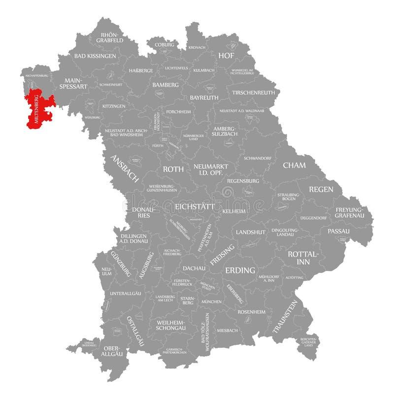 Miltenberg okręgu administracyjnego czerwień podkreślająca w mapie Bavaria Niemcy royalty ilustracja
