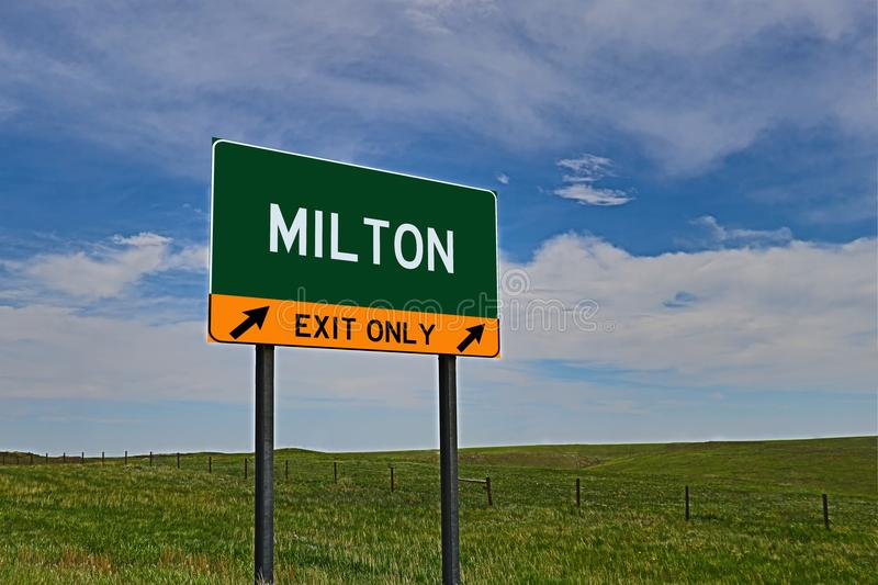 US Highway Exit Sign for Milton. Milton `EXIT ONLY` US Highway / Interstate / Motorway Sign stock images