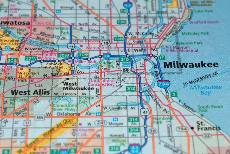 Roads on the map around Milwaukee city, USA, march 2018. Milwaukee is a municipality in the United States of America and the county seat of Milwaukee in the royalty free stock image