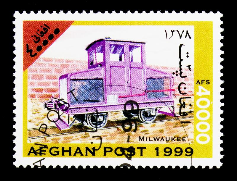 Milwaukee Railway 0-4-0 diesel locomotive, Locomotives serie, ci. MOSCOW, RUSSIA - DECEMBER 21, 2017: A stamp printed in Afghanistan shows Milwaukee Railway 0-4 stock photo
