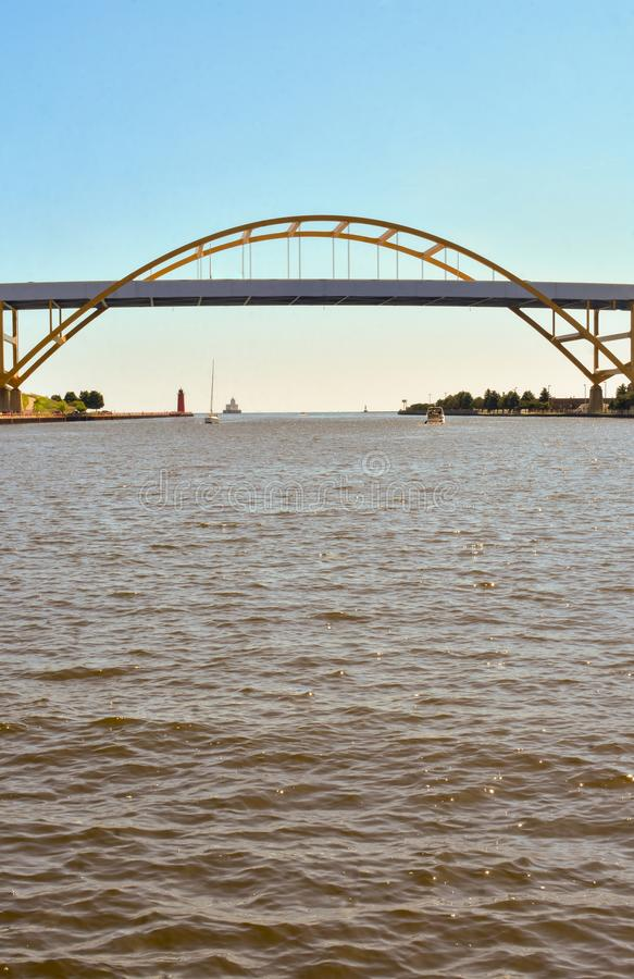 Milwaukee`s Hoan Bridge  2. The Hoan Bridge is a tied-arch bridge that connects Interstate 794 in downtown Milwaukee, Wisconsin, to the Lake Freeway across the stock images