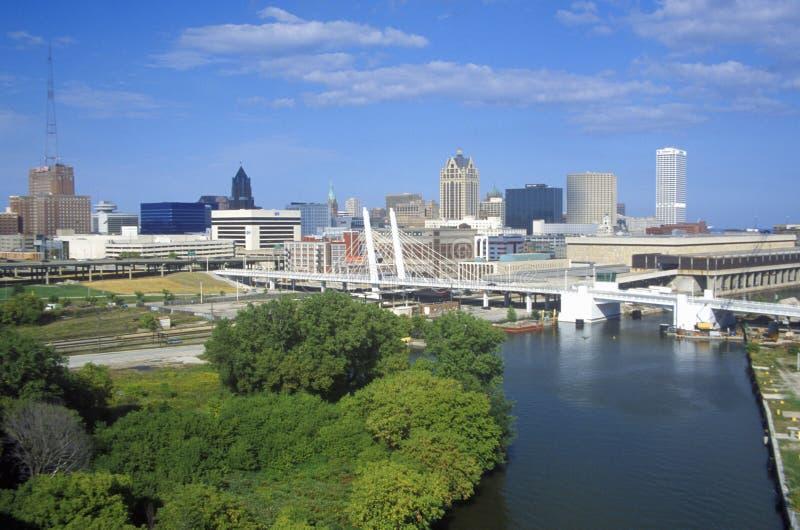 Milwaukee skyline with Menomonee River in foreground, WI stock photos