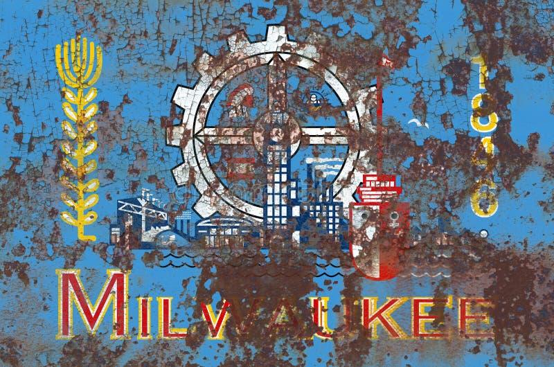 Milwaukee-Stadtrauchflagge, Staat Wisconsin, Vereinigte Staaten von Ame lizenzfreie stockfotografie