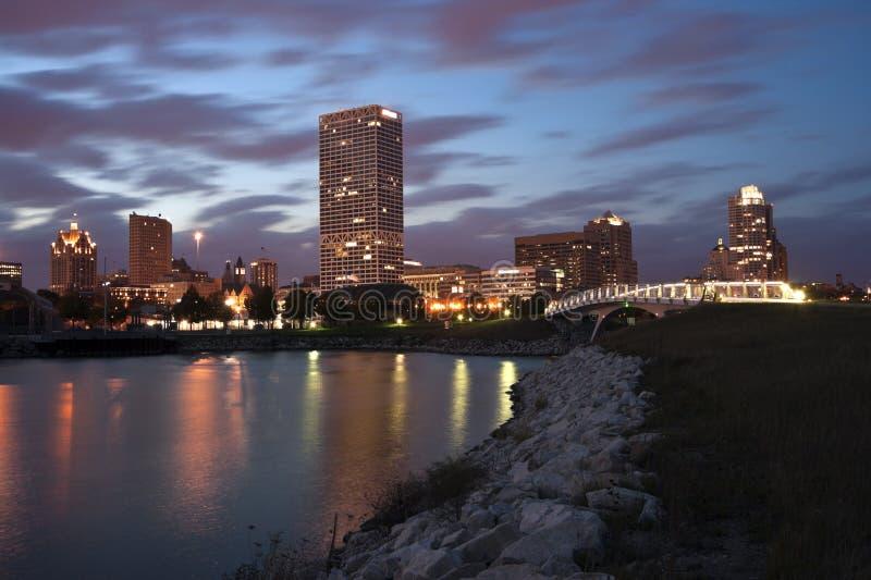 Milwaukee sunset panorama royalty free stock images