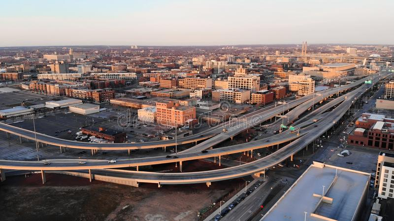 MILWAUKEE, USA - APRIL 26, 2018: Aerial view of american city a royalty free stock images