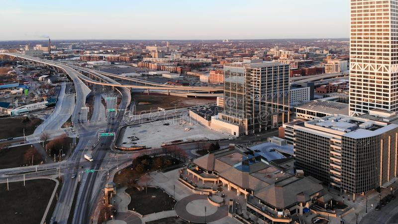 MILWAUKEE, USA - APRIL 26, 2018: Aerial view of american city a. T dawn. Milwaukee, Wisconsin, USA on April 26, 2018 royalty free stock photos