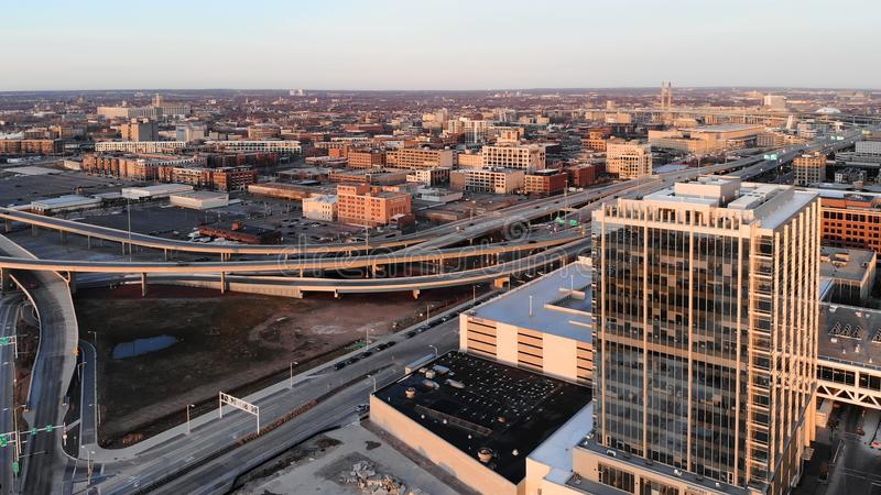 MILWAUKEE, USA - APRIL 26, 2018: Aerial view of american city a stock image