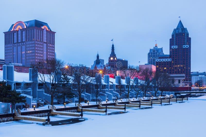Milwaukee vintertid royaltyfri fotografi
