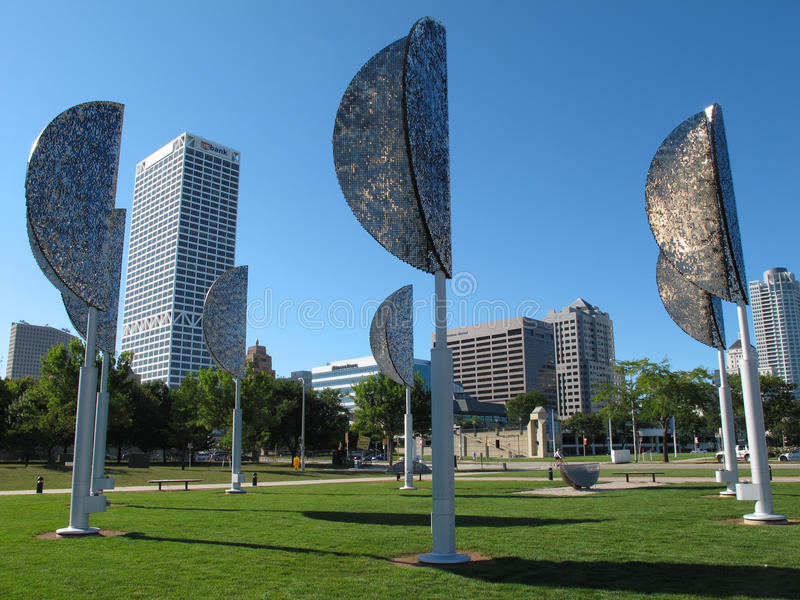 Milwaukee-Windblätter, moderne Kunst stockbild