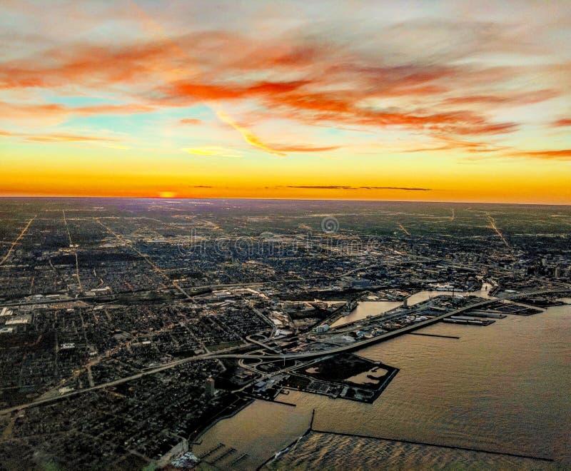 Milwaukee, Wisconsin Aerial Viee royalty free stock photos