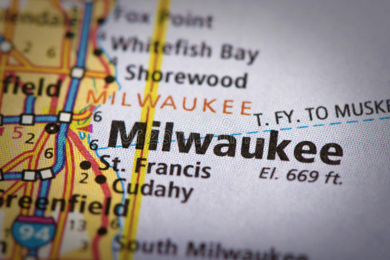 Milwaukee, Wisconsin en mapa imágenes de archivo libres de regalías