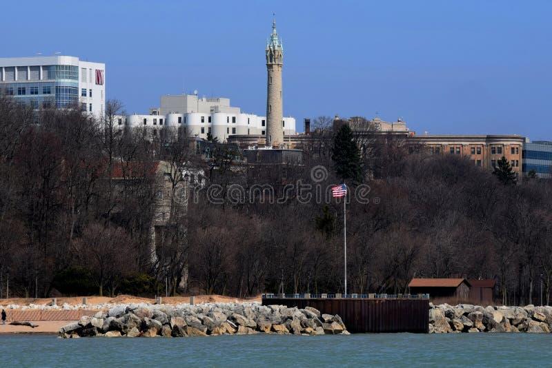 Milwaukee Wisconsin gammalt vattentorn royaltyfri fotografi