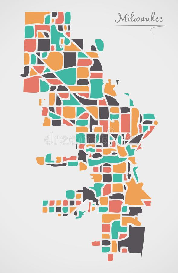 Milwaukee Wisconsin Map with neighborhoods and modern round shapes. Illustration royalty free illustration