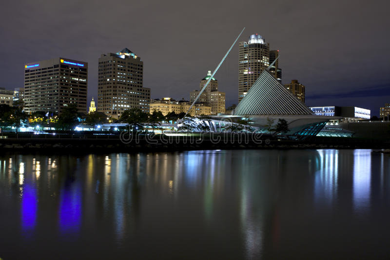 Milwaukee Wisconsin (night). Milwaukee Wisconsin waterfront on Lake Michigan on an overcast night stock images