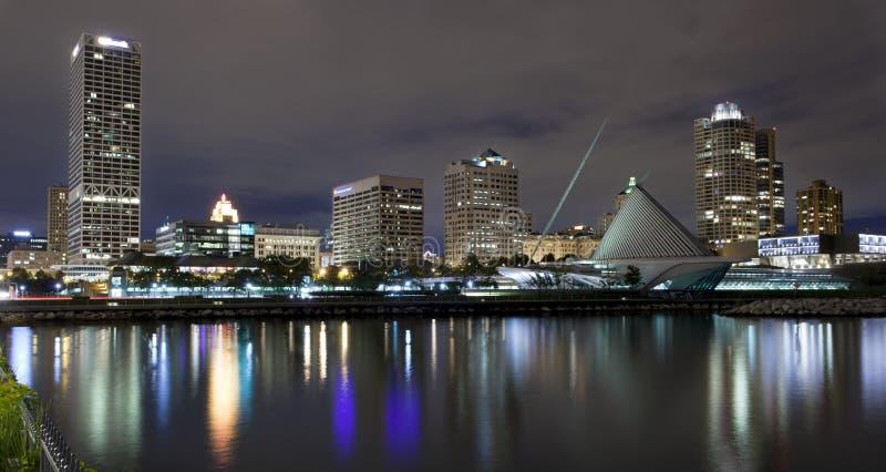 Milwaukee Wisconsin at night. Downtown Milwaukee Wisconsin at night, view from the lake stock photos